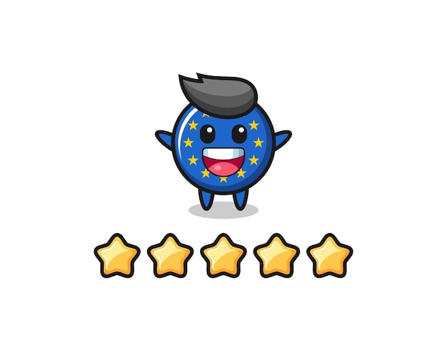 The illustration of customer best rating, europe flag badge cute character with 5 stars , cute style design for t shirt, sticker, logo element