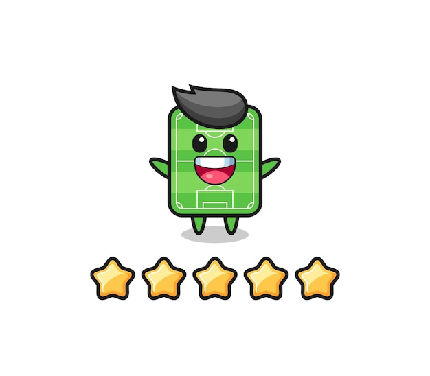 The illustration of customer best rating, football field cute character with 5 stars , cute style design for t shirt, sticker, logo element
