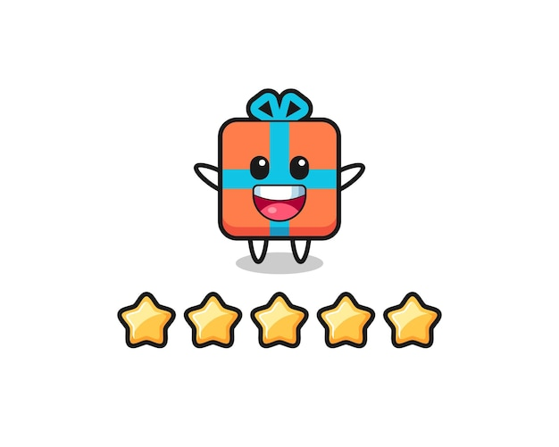 The illustration of customer best rating, gift box cute character with 5 stars , cute style design for t shirt, sticker, logo element