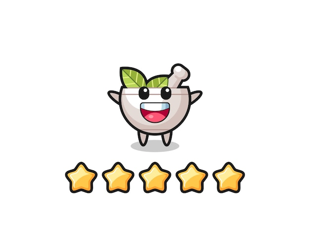 The illustration of customer best rating, herbal bowl cute character with 5 stars , cute style design for t shirt, sticker, logo element