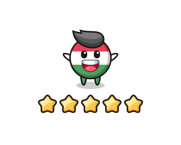 The illustration of customer best rating, hungary flag badge cute character with 5 stars , cute style design for t shirt, sticker, logo element
