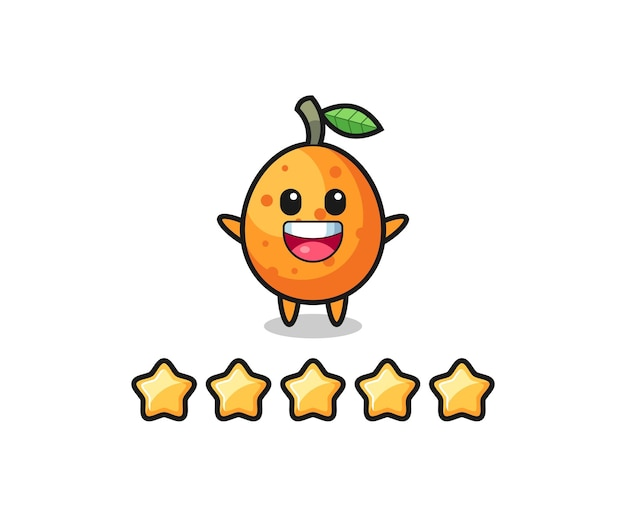 The illustration of customer best rating, kumquat cute character with 5 stars , cute style design for t shirt, sticker, logo element