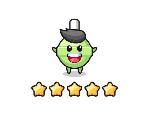 The illustration of customer best rating, lollipop cute character with 5 stars , cute style design for t shirt, sticker, logo element