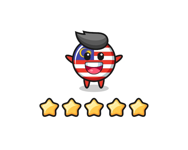 The illustration of customer best rating, malaysia flag badge cute character with 5 stars , cute style design for t shirt, sticker, logo element