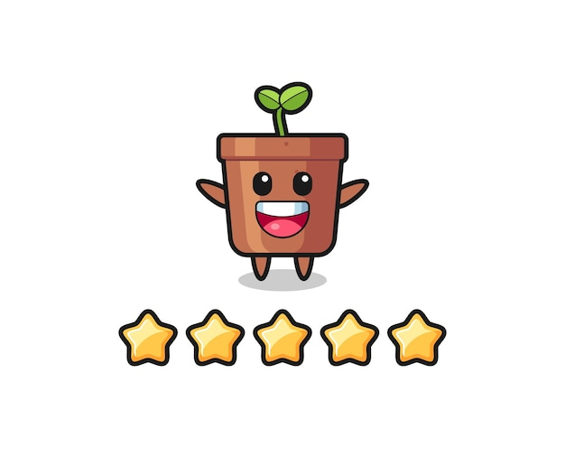 The illustration of customer best rating, plant pot cute character with 5 stars , cute style design for t shirt, sticker, logo element