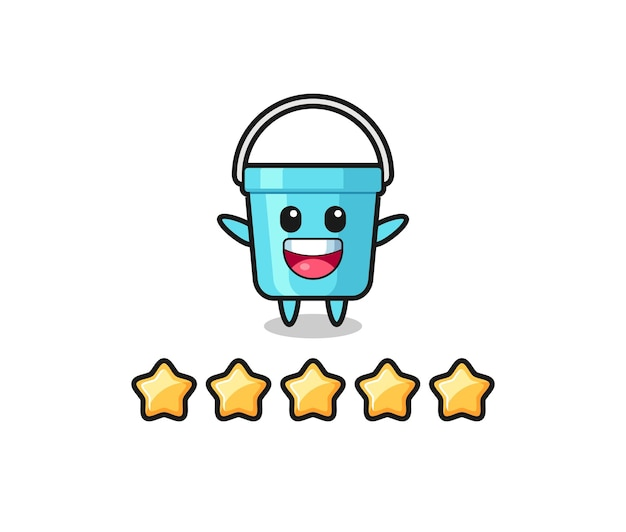 The illustration of customer best rating, plastic bucket cute character with 5 stars , cute style design for t shirt, sticker, logo element