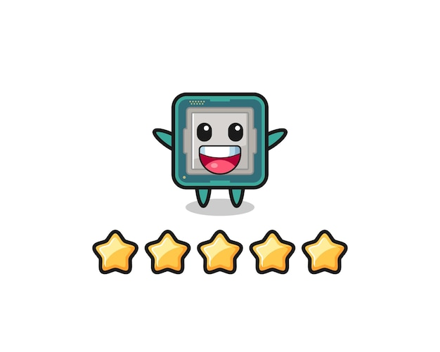 The illustration of customer best rating, processor cute character with 5 stars , cute style design for t shirt, sticker, logo element