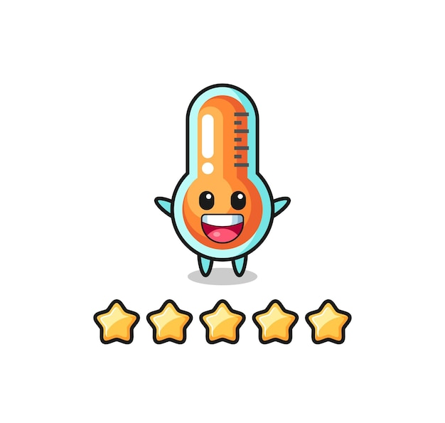The illustration of customer best rating, thermometer cute character with 5 stars , cute style design for t shirt, sticker, logo element