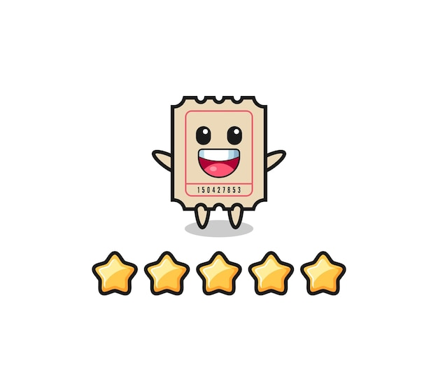 The illustration of customer best rating, ticket cute character with 5 stars , cute style design for t shirt, sticker, logo element