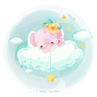 Illustration of cute animal on a cloud