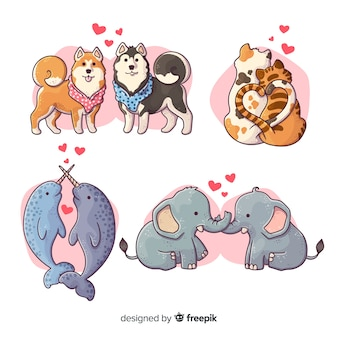Illustration of cute animals in love collection