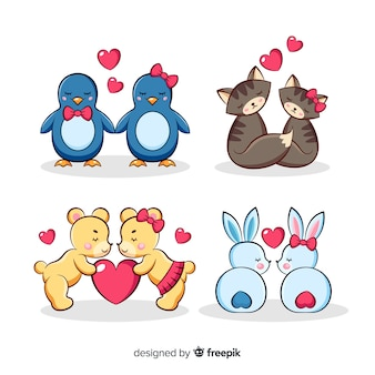 Illustration of cute animals in love set