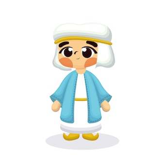 Illustration of cute arabian child with cartoon style