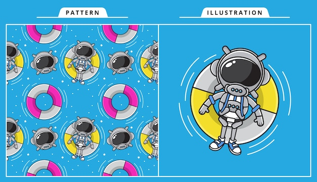 Illustration of cute astronaut are swimming in the summer concept with pattern..