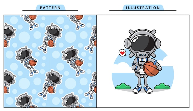 Illustration of cute astronaut playing basketball concept with pattern..