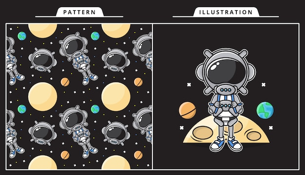 Illustration of cute astronaut in space concept with pattern..
