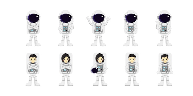 Illustration of cute astronaut vector design