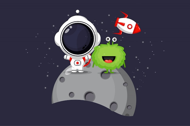 Illustration of cute astronauts and aliens on the moon