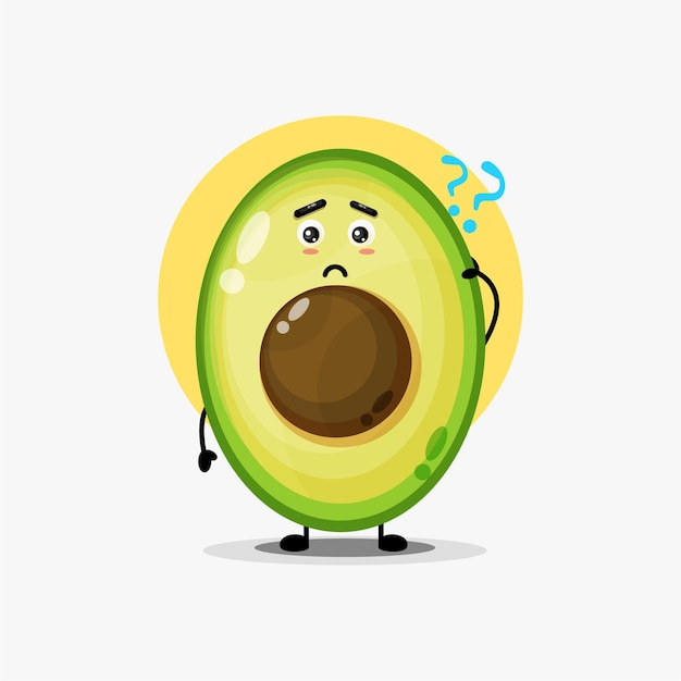 Illustration of a cute avocado being confused