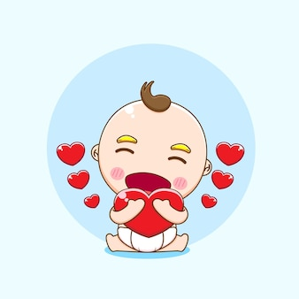 Illustration of cute baby boy character hugging love