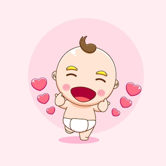 Illustration of cute baby boy character posing love finger