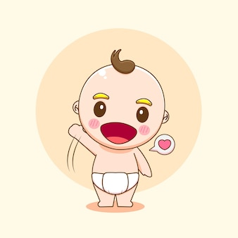 Illustration of cute baby boy character