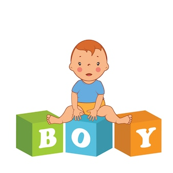 Illustration of cute  baby boy with children bricks.