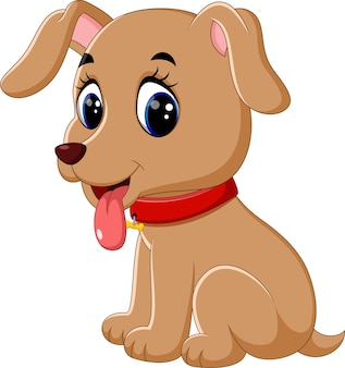 Illustration of cute baby dog cartoon