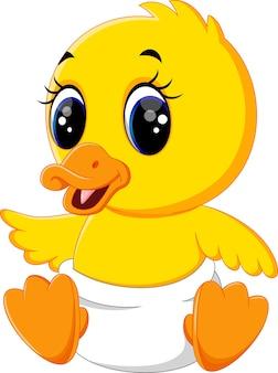 Illustration of cute baby duck cartoon