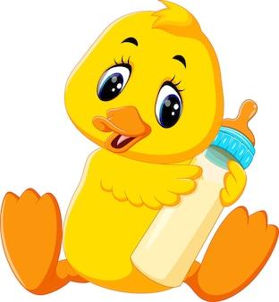 Illustration of cute baby duck holding milk bottle