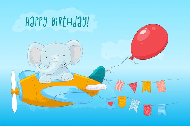 Illustration of cute baby elephant flying on an airplane. cartoon style. vector