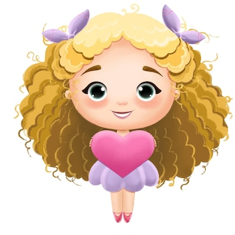 Illustration of a cute baby girl doll with long hair and heart for valentine's day