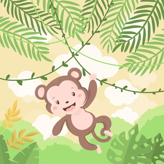 Illustration of cute baby monkey on a tree at jungle