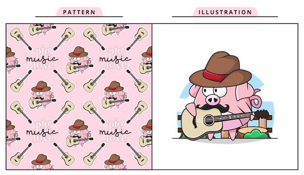 Illustration of cute baby pig is playing guitar with decorative seamless pattern