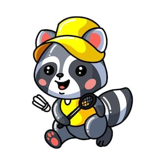 Illustration of  cute baby raccoon cartoon play badminton