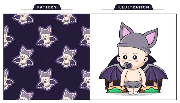 Illustration of cute baby wearing bat costume with decorative seamless pattern