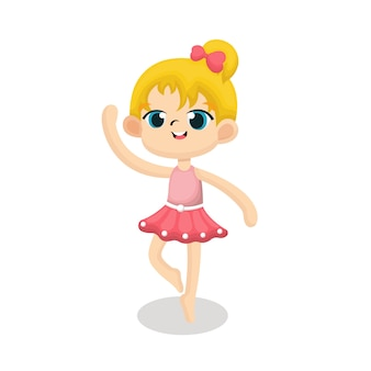 Illustration of cute ballerina with happy face in cartoon style