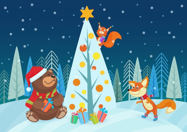 Illustration of cute bear and fox animals with gifts at christmas tree in forest.