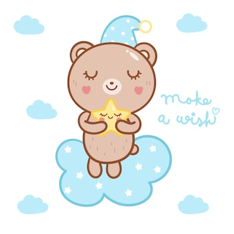 Illustration cute bear hug star