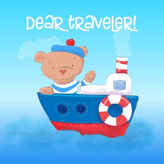 Illustration of a cute bear sailor youngs on a steamship.