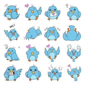 Illustration of cute bird set