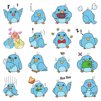 Illustration of cute blue bird set