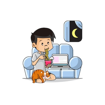 Illustration of cute boy eating instant noodles in the living room sofa