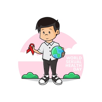 Illustration of cute boy holding earth globe and ribbon as symbol of aids awareness with world sexual health day campaign Premium Vector