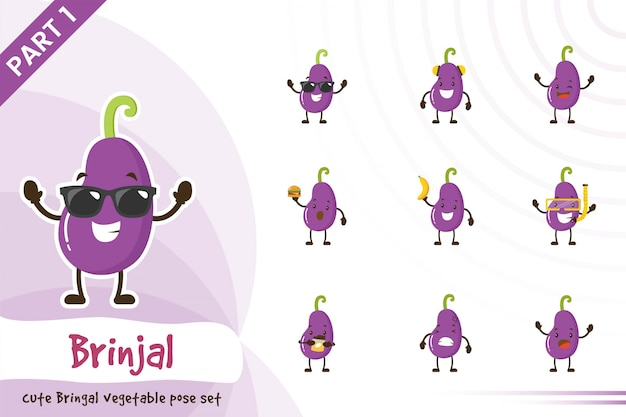 Illustration of cute brinjal vegetable set