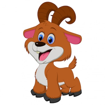 Illustration of cute brown goat cartoon