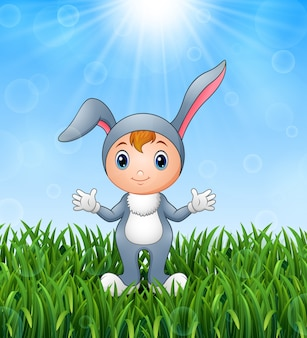Illustration of cute bunny girl costume in the grass on a background of bright suns