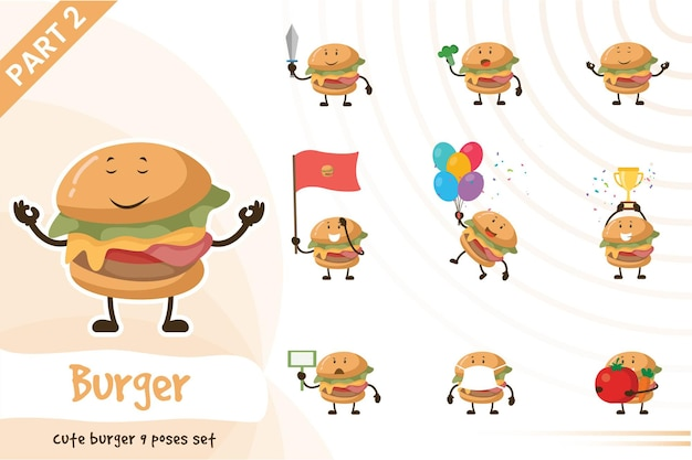 Illustration of cute burger poses set.
