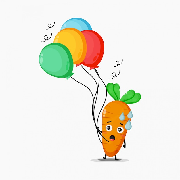 Illustration of cute carrot carrying a balloon