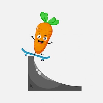 Illustration of cute carrot playing skateboard